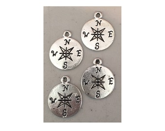 Compass CHARM (4) charm antique pewter - 4 charms per pack