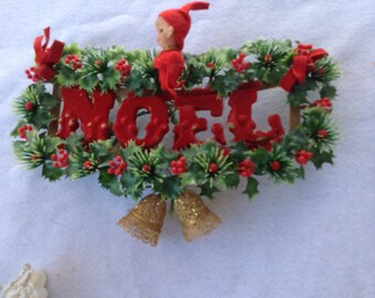 Vintage NOEL plastic and red flocked hlly Door hanging with elf