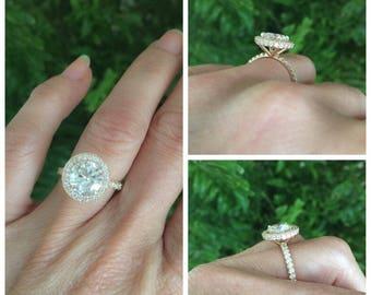 Moissanite Engagement Ring 2.20ct Round Forever One Ring 1.16ct Natural Diamonds Halo Ring 18k Rose Gold Ring Pristine Custom Rings