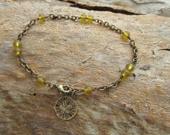 Amber Colour Cultured Sea Glass, Vintaj Brass Chain and Sand Dollar Charm Anklet