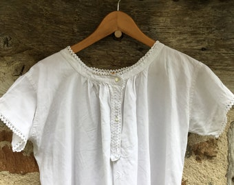 Antique French nightgown embroidered A.M.