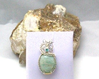Amazonite with Apatite Handmade Wire Wrapped Pendant