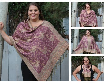 Pastel Pink All-Over Paisley Pashmina Poncho Shawl
