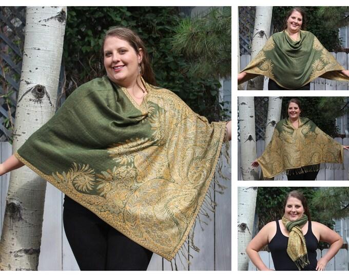 Featured listing image: Green and Yellow Bohemian Paisley Pashmina Poncho Shawl