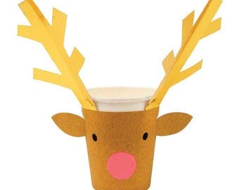 Christmas Party Cups (8). Meri Meri Reindeer Paper Cups, Xmas Cups, Holiday Paper Cups, Reindeer Decorations, Kids Christmas Decor