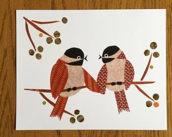 Red Chickadees Print, Lovebirds, Bird Art, Bird Print, cut paper art, whimsical, anniversay, wedding, bridal shower