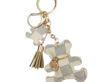 LV Inspired Brown or Cream Monogram Teddy Bear Keychain