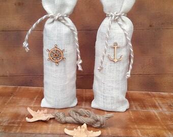 Burlap Wine Bottle Holder - Ivory Burlap Wine Bag - Wine Cozy- Wedding Table Decor - Wine bag - Wine Sack - Nautical Wine Bag - Qty 3