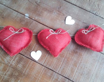 Valentine Banner  - Colored Burlap Garland - Red Heart Garland - Burlap Heart Bunting - Valentine Garland - Bunting - 3m - 10 feet long