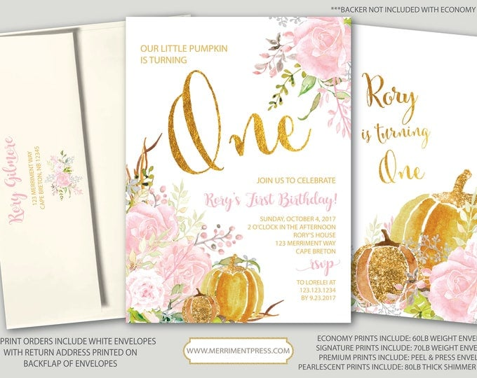 Pumpkin First Birthday Invitation / Fall First Birthday / One / Gold / Pink Blush / Floral / Watercolor / Little Pumpkin / CARMEL COLLECTION