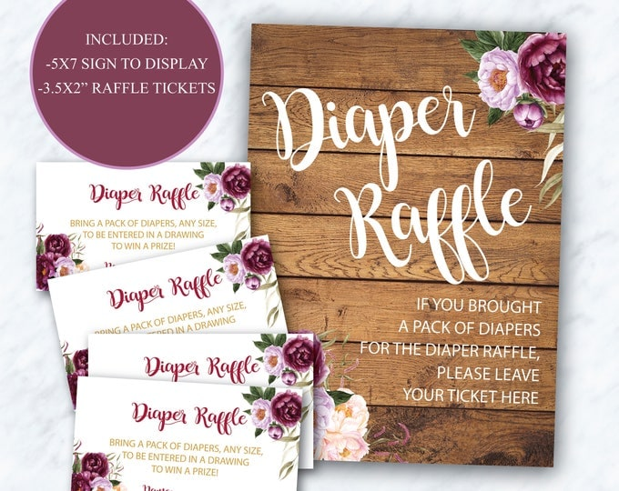 Burgundy Diaper Raffle Tickets + Sign // Purple // Red // Pink // Gold // Rustic wood // Floral // Printed Cards // FLORENCE COLLECTION