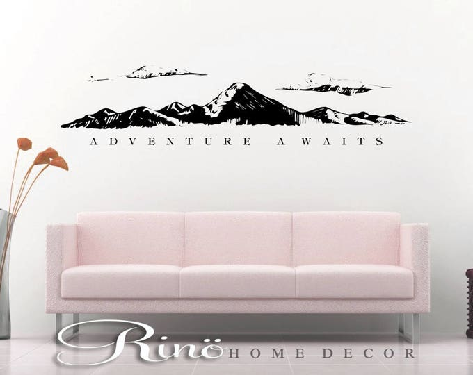 Adventure awaits wall decal Mountains wall quote vinyl lettering sticker home decor wall saying yolo explore travel gift ideas