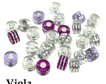 Acrylic Barrel Pony Beads, 9mm, 80-Piece, Viola