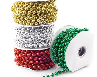 Mot Pearl Plastic Beads Garland Ribbon, 8mm, 10mm