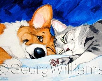 """Pet Caricature Portrait - Print """"Man's Best Friend"""""""
