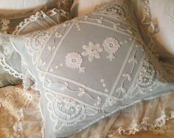SOLD ~ So so gorgeous antique FRENCH 1900s tape lace tulle net deep frilled ruffle romantic boudoir pillow cushion~ fabulous design