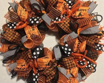 Halloween wreath, Halloween wreath, wreath, happy Halloween wreath, mesh Halloween wreath, Halloween door wreath, fall wreath, fall wre