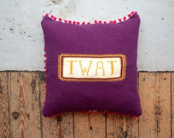 PDF Download - Rude Profanity Knitted Cushion Cover - TWAT - Scatter Cushion / Pillow / Knitted Cushion / Rude Cushion
