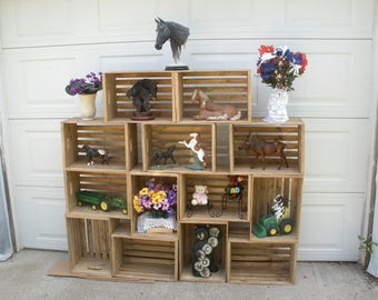 """wooden shelving crate, 18"""" crate, wood crate, storage crate, rustic wood crate, shelving, display crate"""
