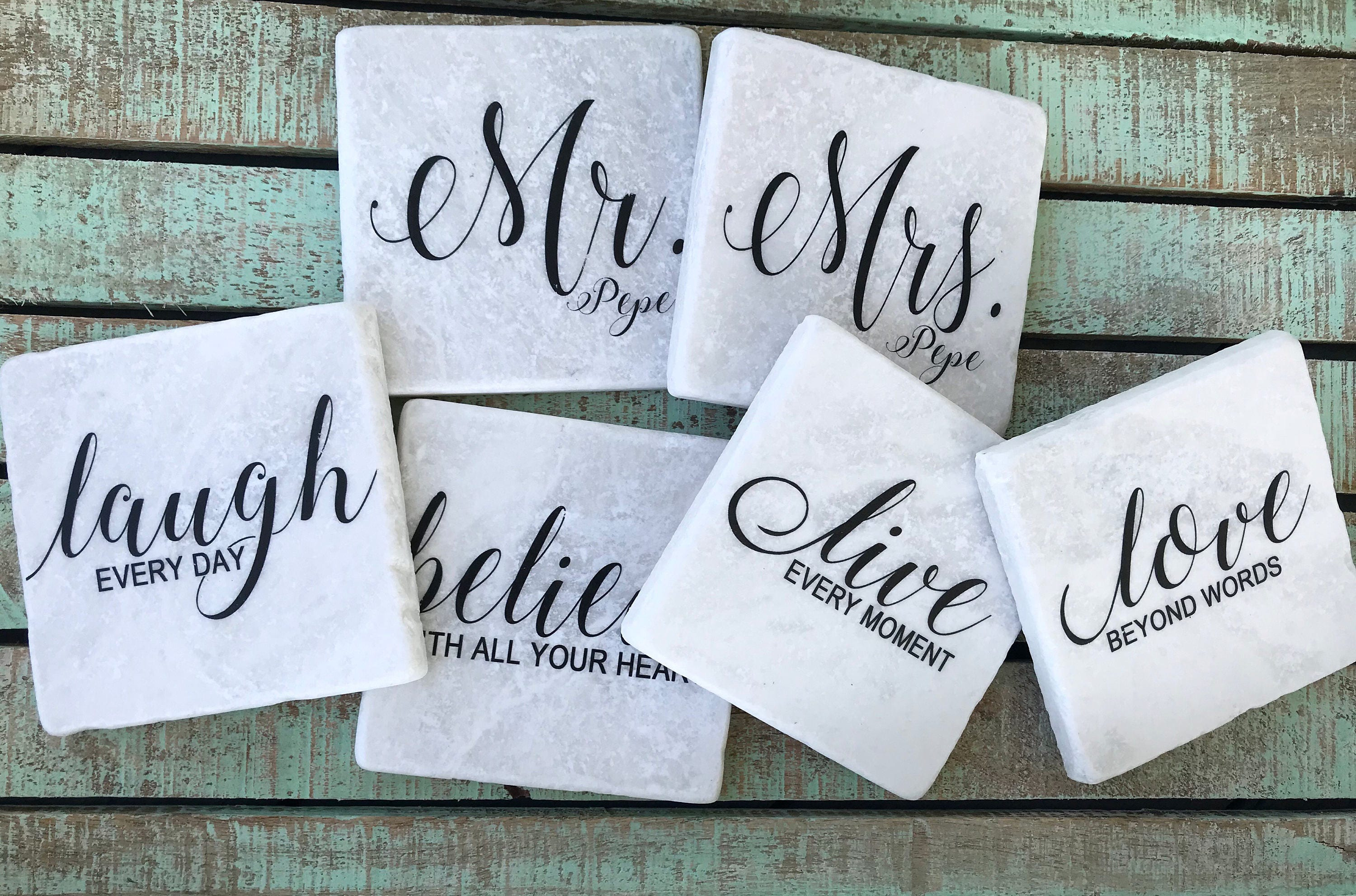 Live Love Laugh Quotes Mr & Mrs Coasters With 4 Quotes Live Love Laugh Believe Set