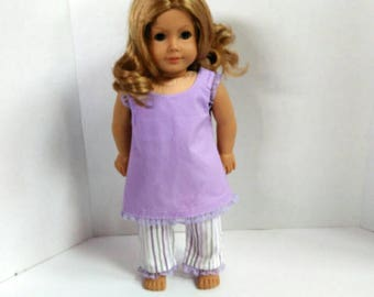 18 inch doll clothes, Purple pajamas made to fit American girl doll, doll pajamas, summer pajamas fit dolls like American Girl doll pajamas
