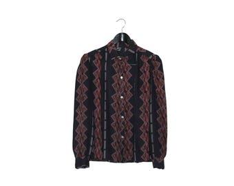 70s vintage geometric aztec black and burgundy women blouse - vintage clothing