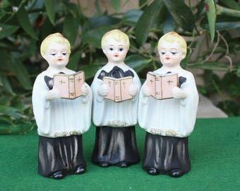 REDUCED Vintage Lefton Christmas Choir Boy Trio 1950s Japan Carolers Figurines Decorations Collectibles