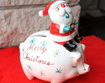 Vintage Smoking Santa Riding Merry Christmas Pig Bank Ceramic Japan 1950s Figurines Decorations Collectibles Sputnik Stars Shafford