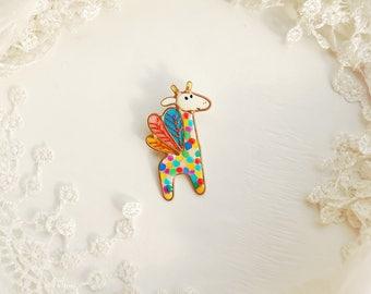 Giraffe brooch, Pegasus brooch, Funny brooch, Unicorn brooch, Pegasus unicorn, Multicolored brooch, Animal brooch.