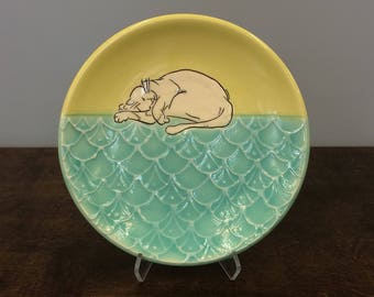 Handmade Lunch Plate, with Frolicking Kitty. Glazed in Lime and Aqua. MA112