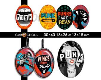Punk  • 45 Images Digitales OVALES 30x40 18x25 13x18 mm  rebelle rock punk clash épingle nourrice mediator pick guitare london