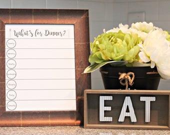 Weekly Menu Board - Chalkboard Menu - Menu Planner - Dry Erase Menu Board