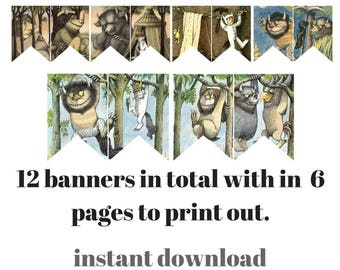 Where the wild things are printable banner instant download