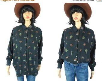 tempSALE Vintage Equestrian Blouse, Fox Hunt Horse Shirt, Black Long Sleeve Button Down Top Novelty 80s Collared  English Riding Horseback