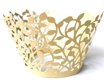 Elegant Gold Laser Cut Cupcake Wrappers Wedding Lace Decor