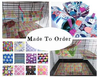 Custom rat manor fleece cage liners and hammock gift set | 6 pc | rat cage accessories | double hammock  | tunnel | tube | MADE TO ORDER