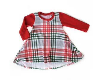 Christmas Plaid high low hem dress for baby and toddler girls