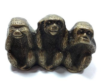 Three wise brass monkeys, see, hear and speak  no evil