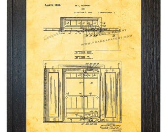 Framed Patent Art - Murphy Bed WITH Real Rustic Wood Frame - Framed Patent Print