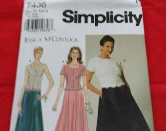 Simplicity #7436 Jessica McClintock evening wear sewing pattern