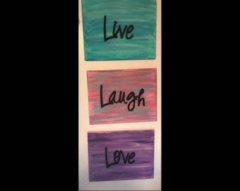 Set of 3- CUSTOM Live Laugh Love Embellishment Canvas Art 11x14