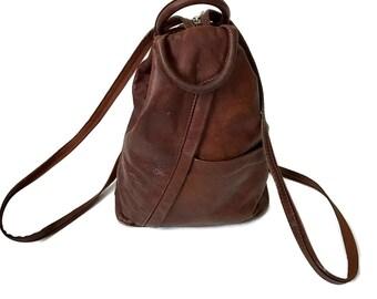 sALe 30% off Vintage Brown Leather Backpack Purse // Bucket Bag
