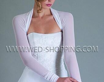 Bridal bolero stretch tulle shrug bolero jacket for wedding E1213 Elastic tulle Bridal wrap cover up simple bridal wrap White ivory black