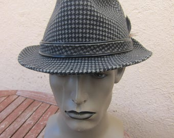 Size 7 1/4 **  Incredible 1960s High-End Wool Felt Houndstooth Check Fedora Hat