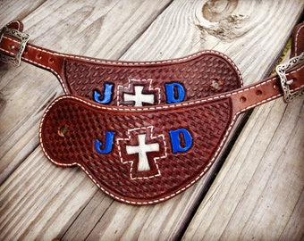 Western Spur Straps Handtooled Basketweave With Custom Insert