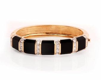 Diamond  Onyx 14k Yellow Gold Bangel Breacelet