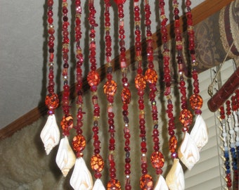 Ruby Red Windchime on Driftwood w/Crystals&Stones 'sparkles' handmade by me
