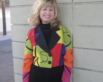 Alyn Paige multi color bolero 2 button jacket