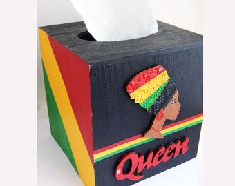 African Tissue Box Cover Queen Lady Wood Tissue Box Holder Afrocentric Gift Ideas African American Home Decor Accessories Rasta Box