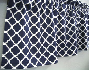 Navy Blue  Valance  Lattice Chain Link